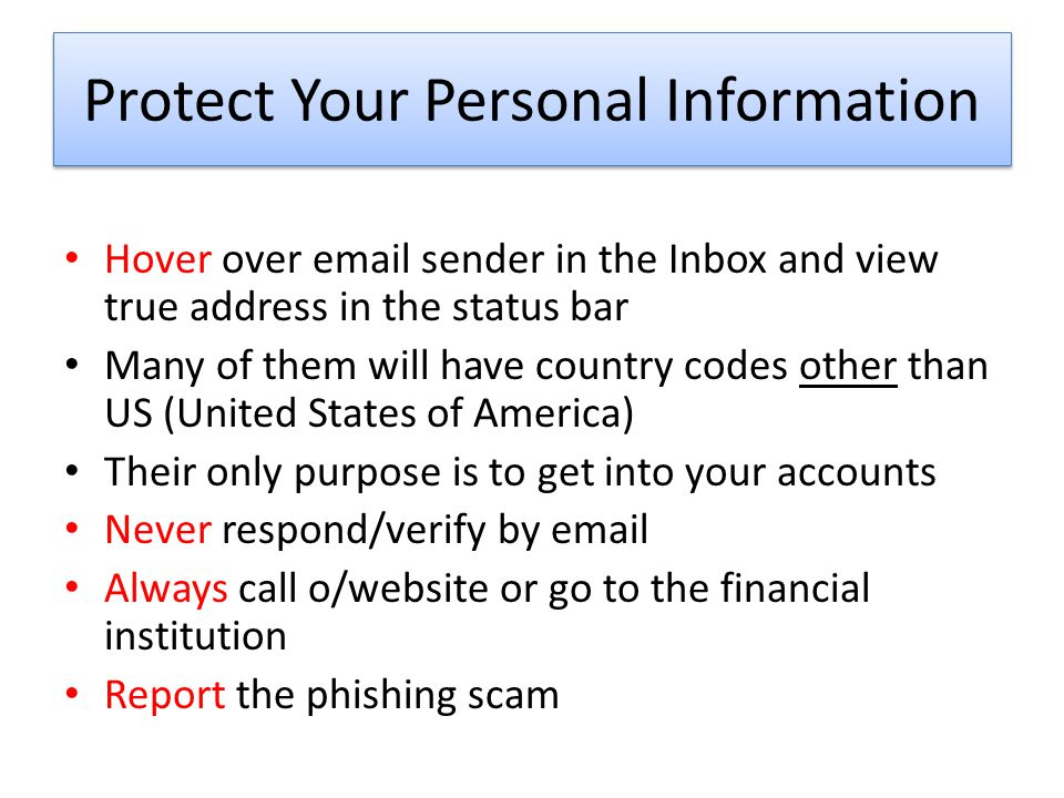 Protect Your Personal Information