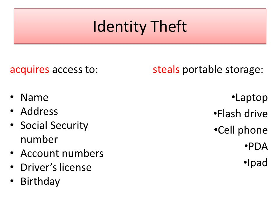Identity Theft acquires access to: Name Address Social Security number