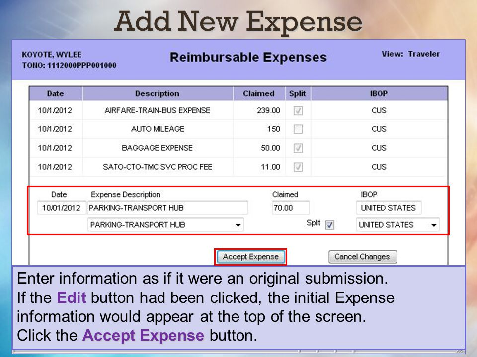 Add New Expense Enter information as if it were an original submission.