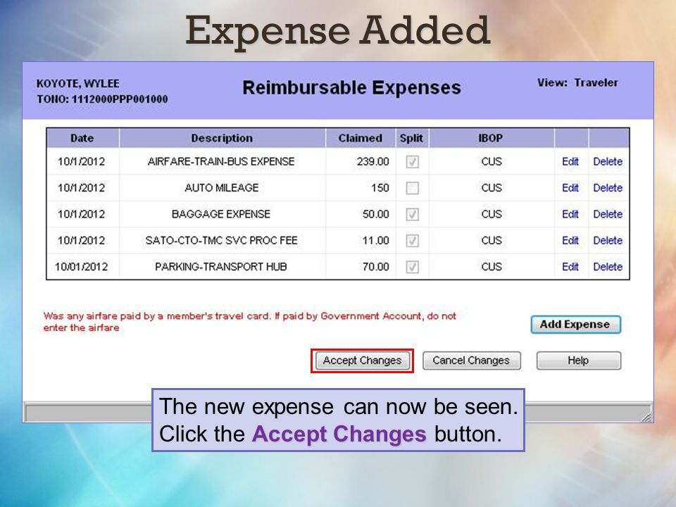 Expense Added The new expense can now be seen.