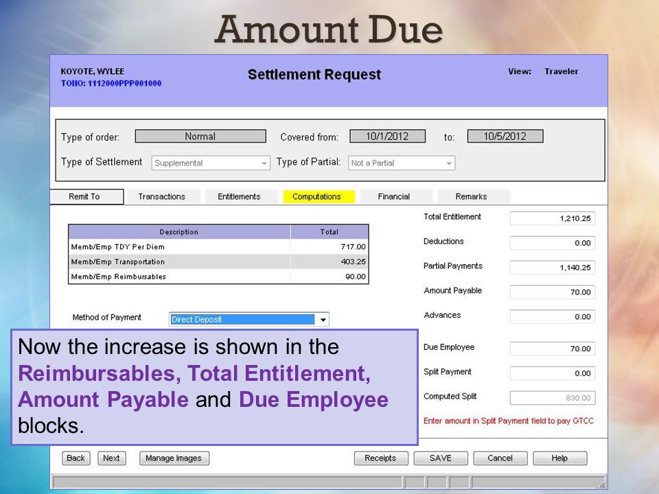 Amount Due Now the increase is shown in the