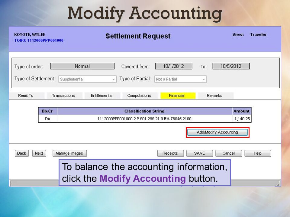 Modify Accounting To balance the accounting information,