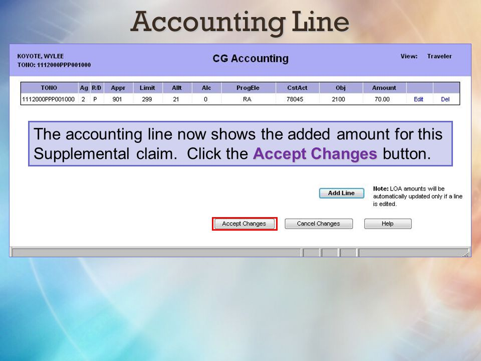 Accounting Line The accounting line now shows the added amount for this.