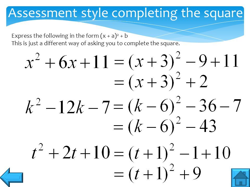 Assessment style completing the square