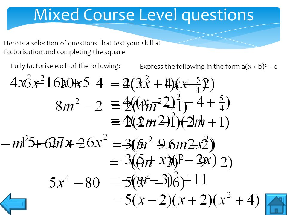 Mixed Course Level questions