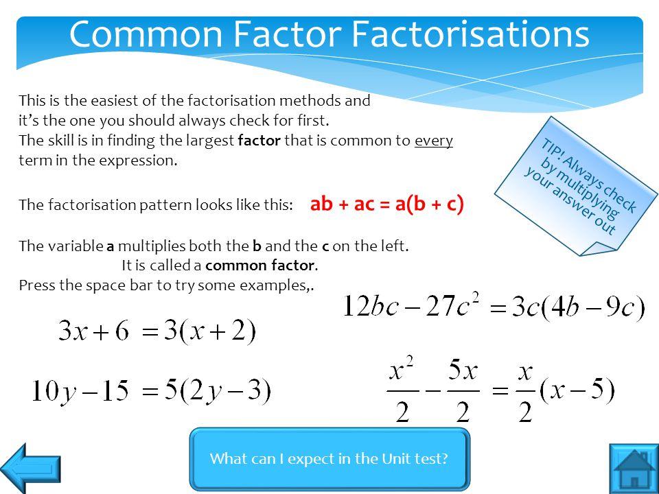 Common Factor Factorisations