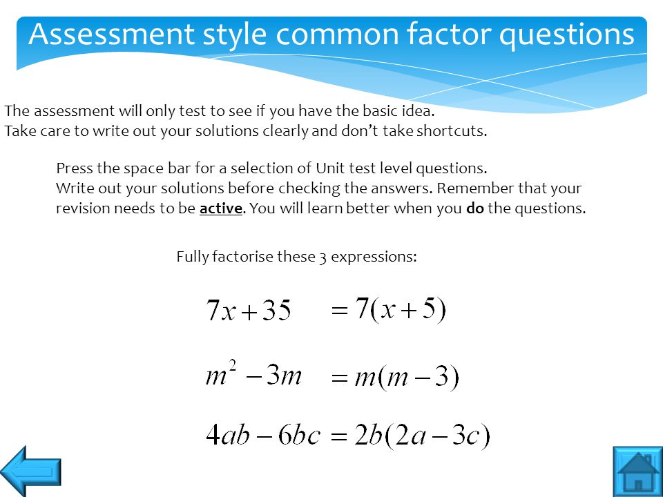 Assessment style common factor questions