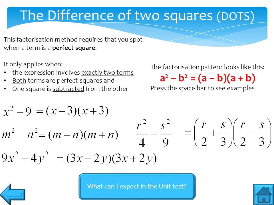 The Difference of two squares (DOTS)