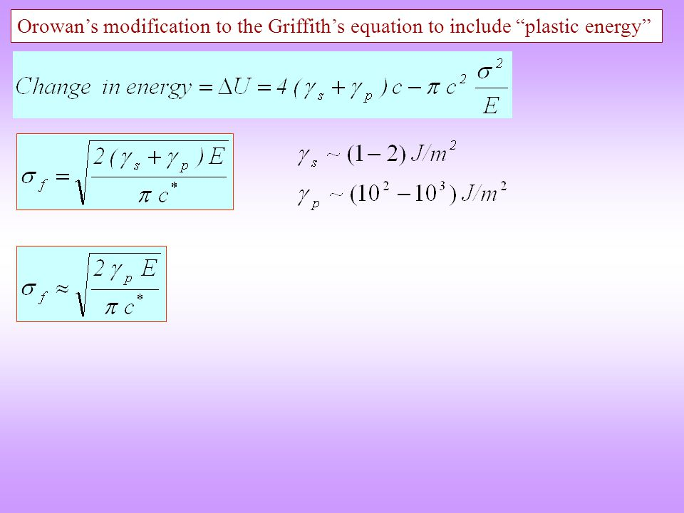 Orowan's modification to the Griffith's equation to include plastic energy