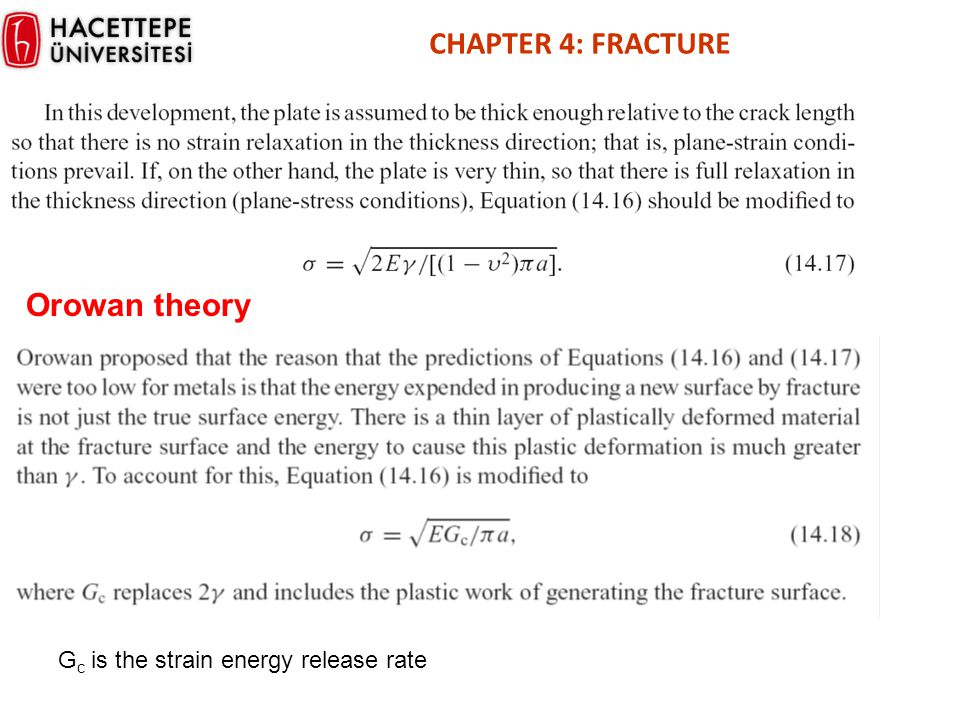 CHAPTER 4: FRACTURE Orowan theory Gc is the strain energy release rate