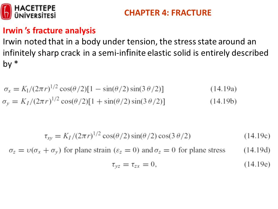 CHAPTER 4: FRACTURE Irwin 's fracture analysis.