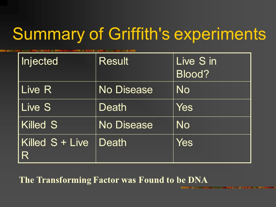 Summary of Griffith s experiments
