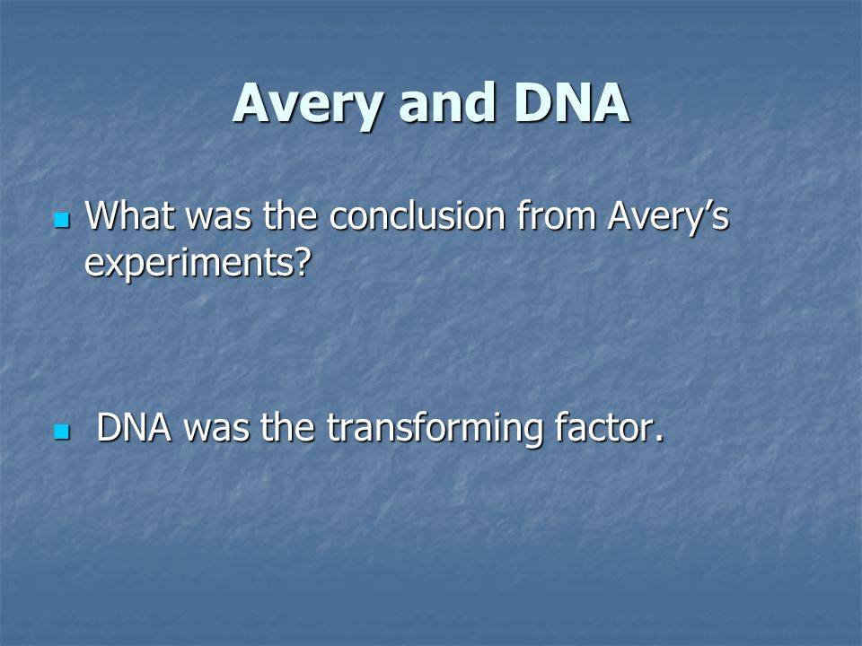 Avery and DNA What was the conclusion from Avery's experiments
