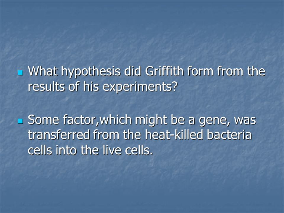 What hypothesis did Griffith form from the results of his experiments