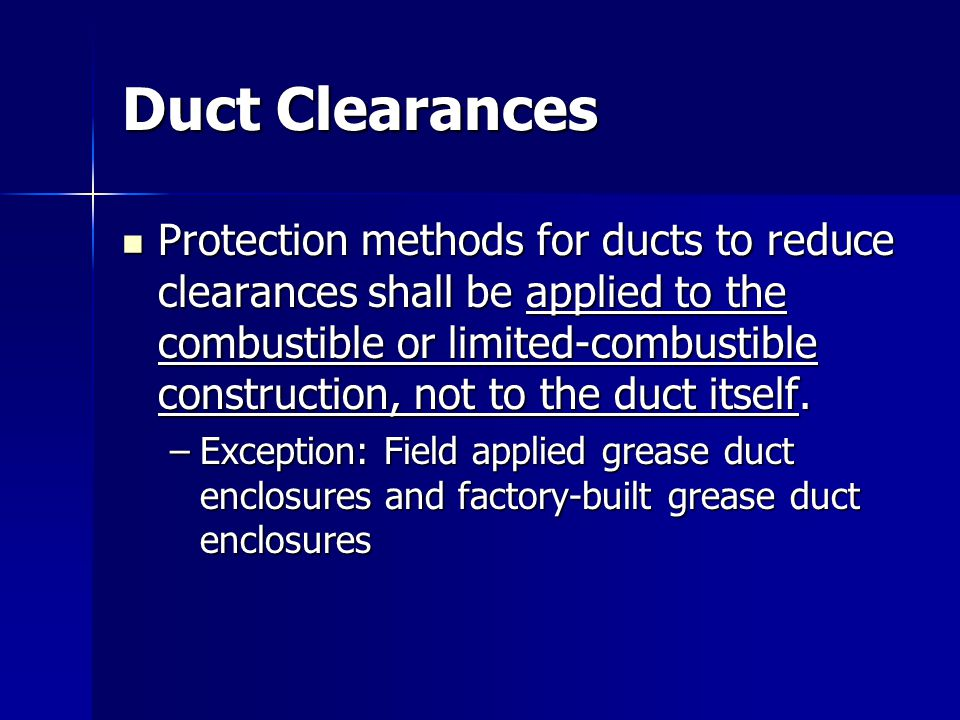 Duct Clearances