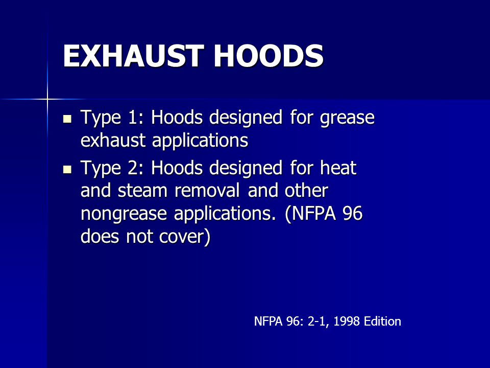 EXHAUST HOODS Type 1: Hoods designed for grease exhaust applications