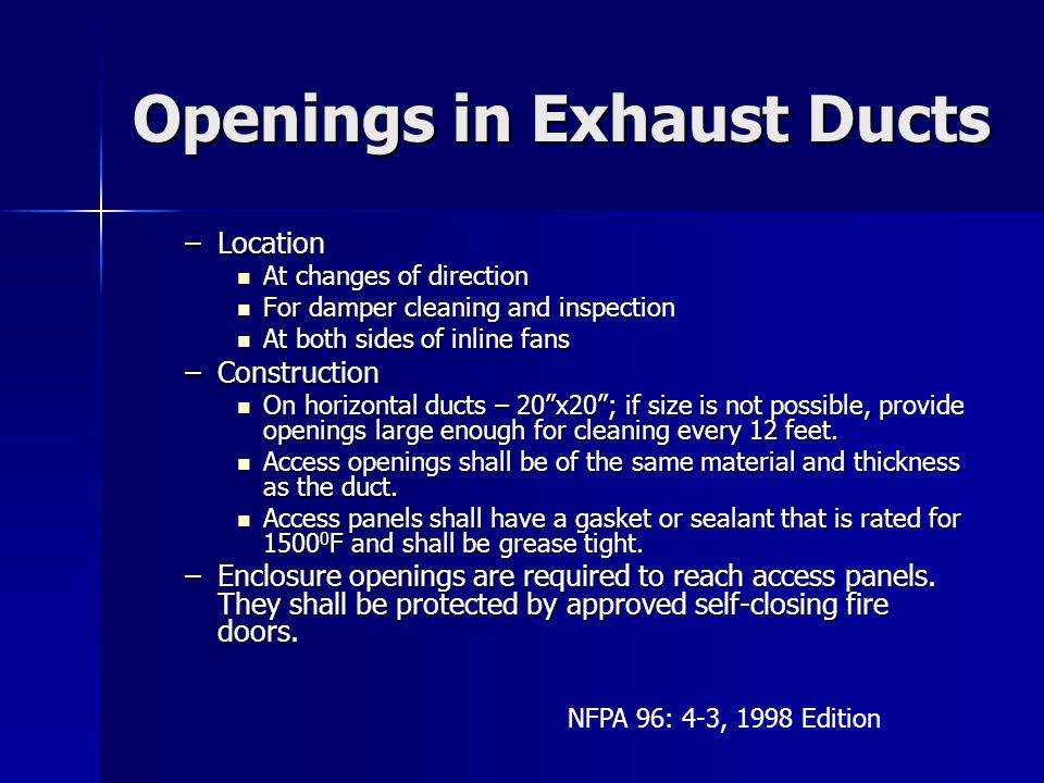 Openings in Exhaust Ducts