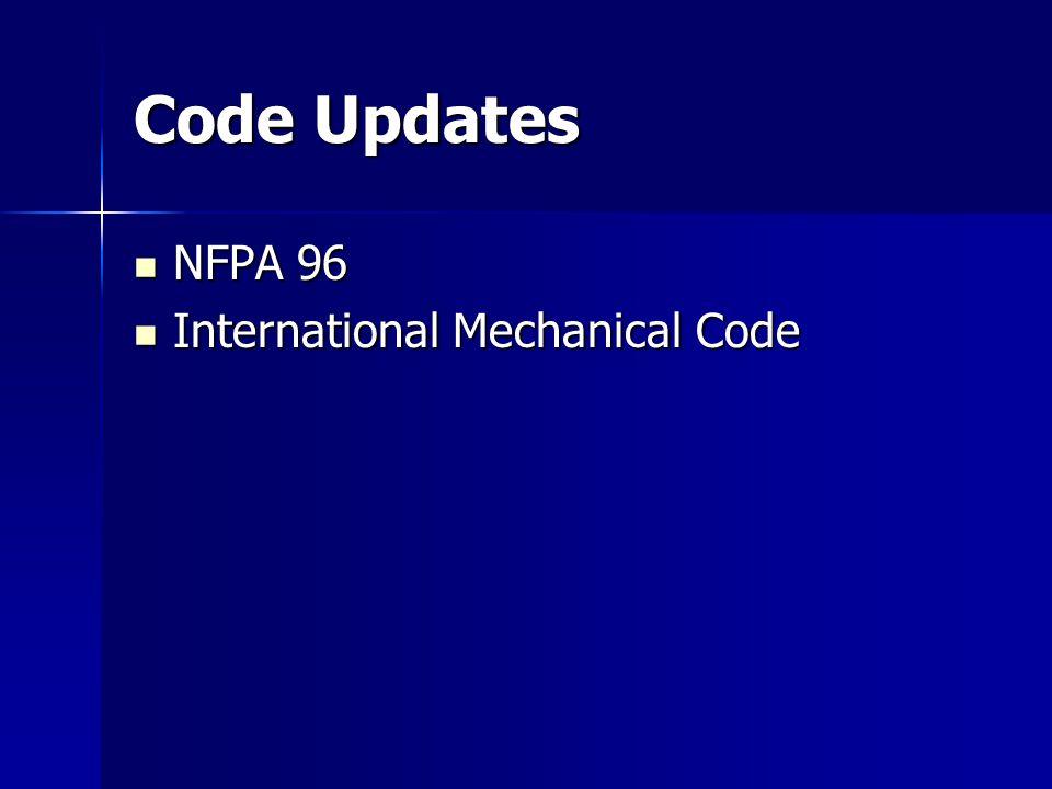 Code Updates NFPA 96 International Mechanical Code