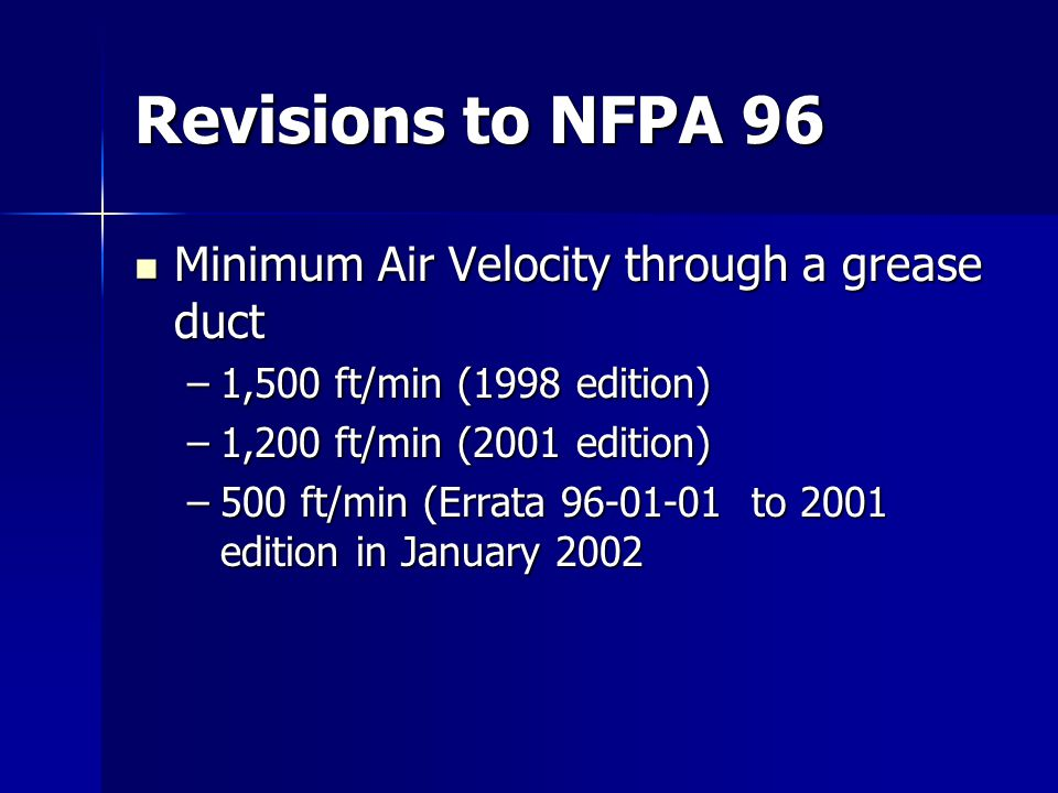 Revisions to NFPA 96 Minimum Air Velocity through a grease duct