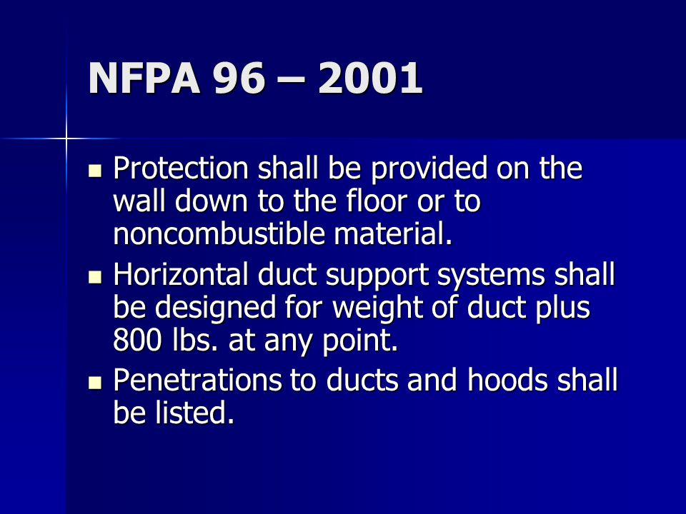 NFPA 96 – 2001 Protection shall be provided on the wall down to the floor or to noncombustible material.