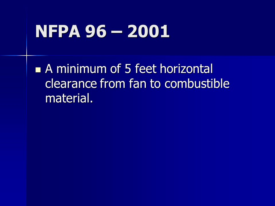 NFPA 96 – 2001 A minimum of 5 feet horizontal clearance from fan to combustible material.