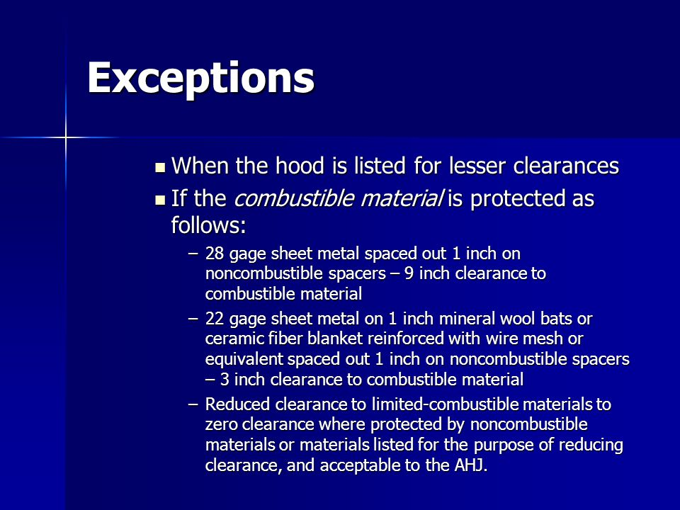 Exceptions When the hood is listed for lesser clearances