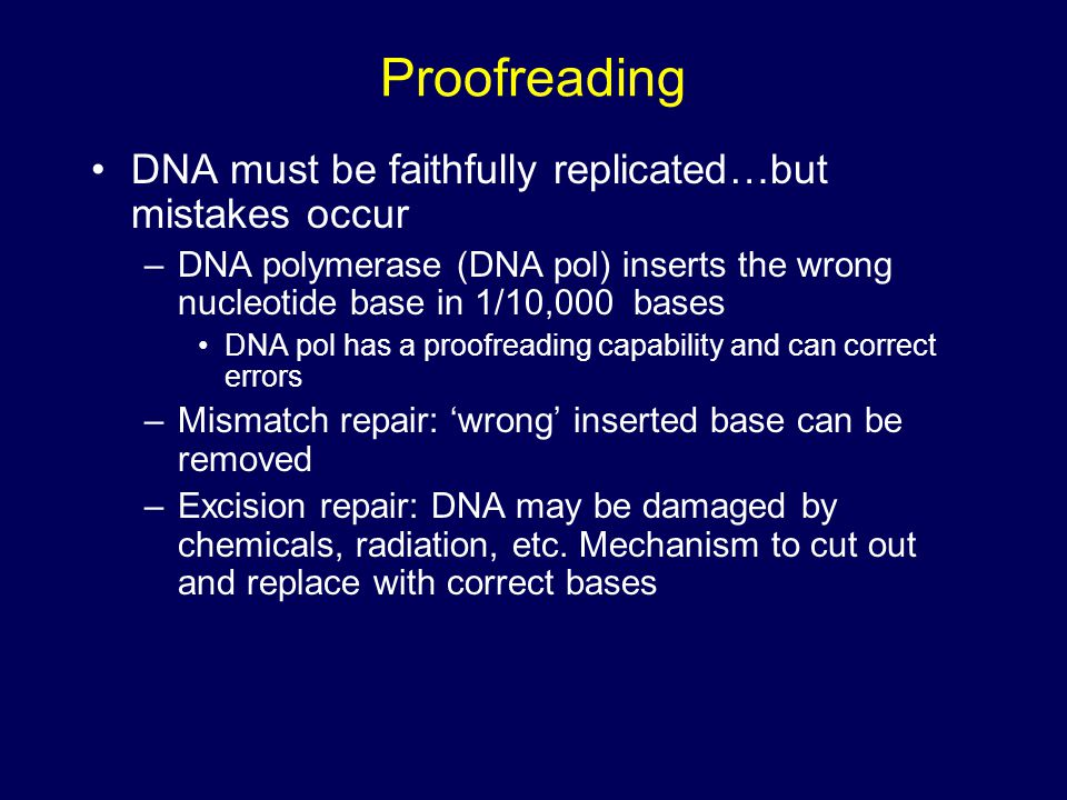 Proofreading DNA must be faithfully replicated…but mistakes occur