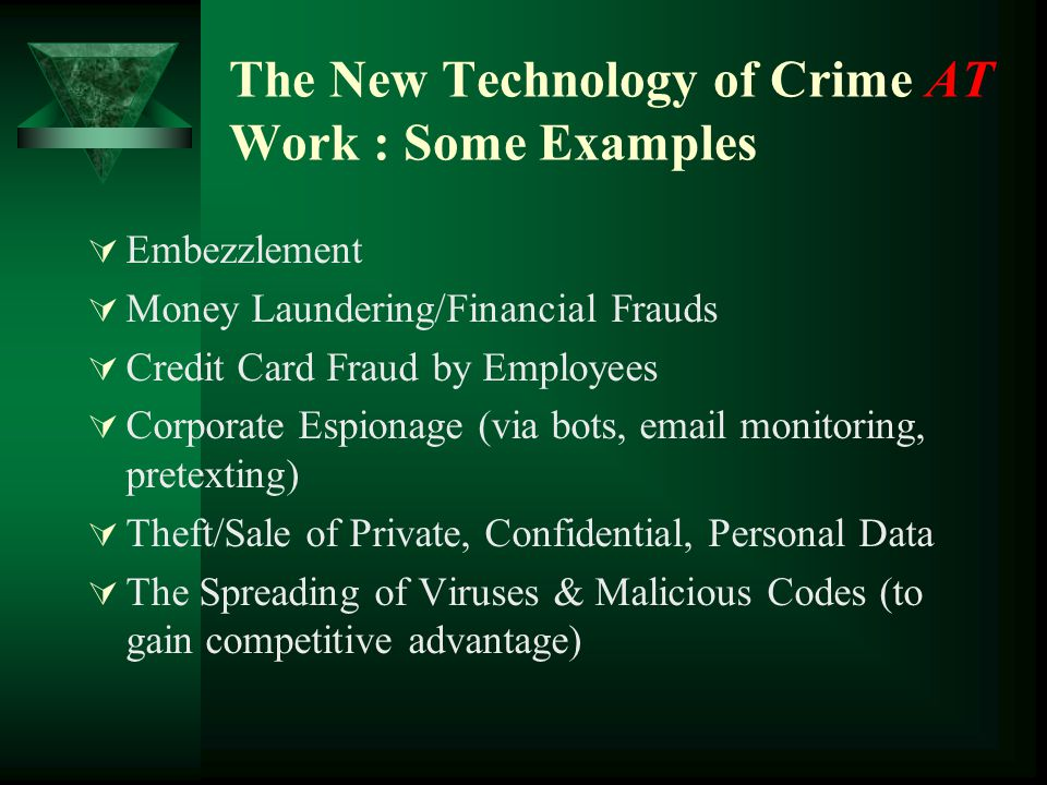 The New Technology of Crime AT Work : Some Examples