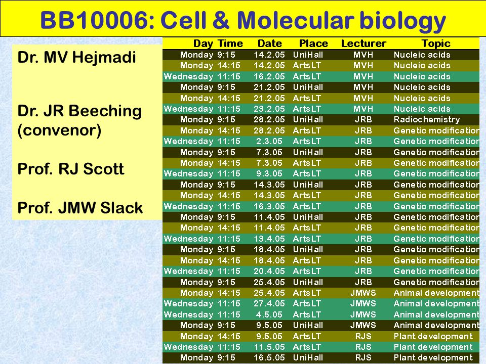 BB10006: Cell & Molecular biology