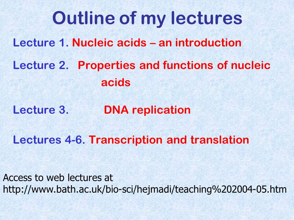 Outline of my lectures Lecture 1. Nucleic acids – an introduction