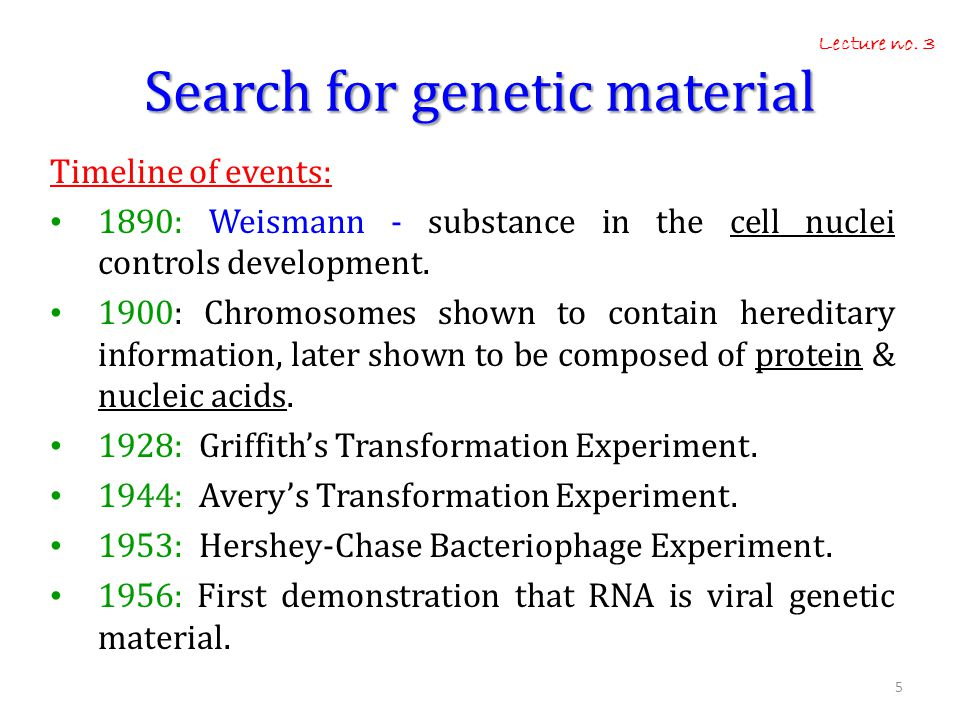 Search for genetic material