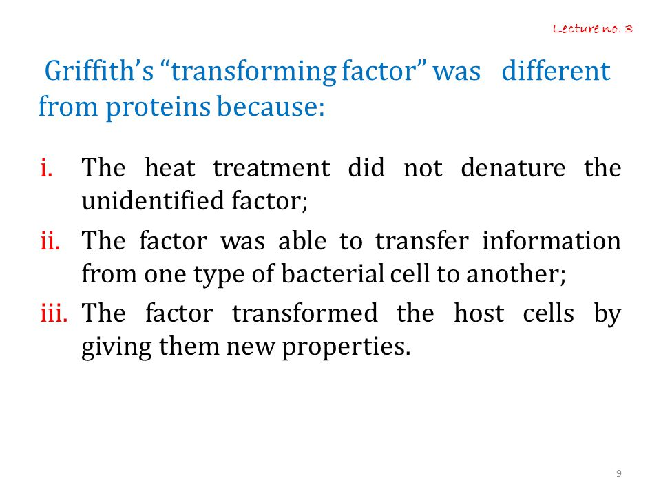 Griffith's transforming factor was different from proteins because: