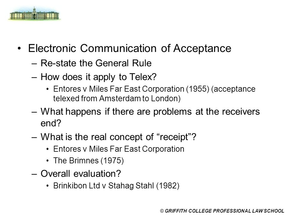 Electronic Communication of Acceptance