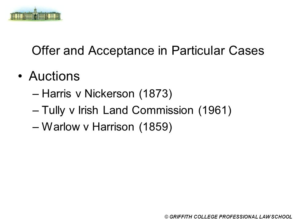 Offer and Acceptance in Particular Cases