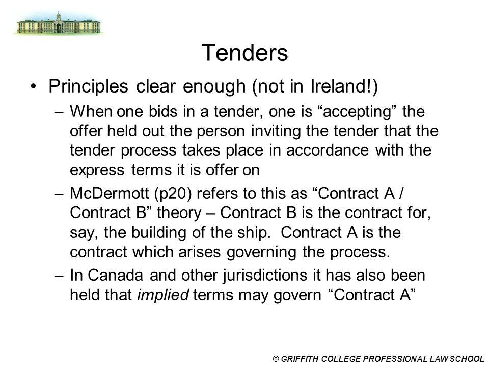 Tenders Principles clear enough (not in Ireland!)