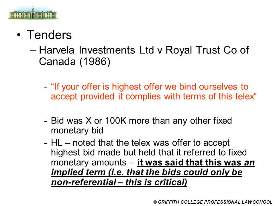 Tenders Harvela Investments Ltd v Royal Trust Co of Canada (1986)