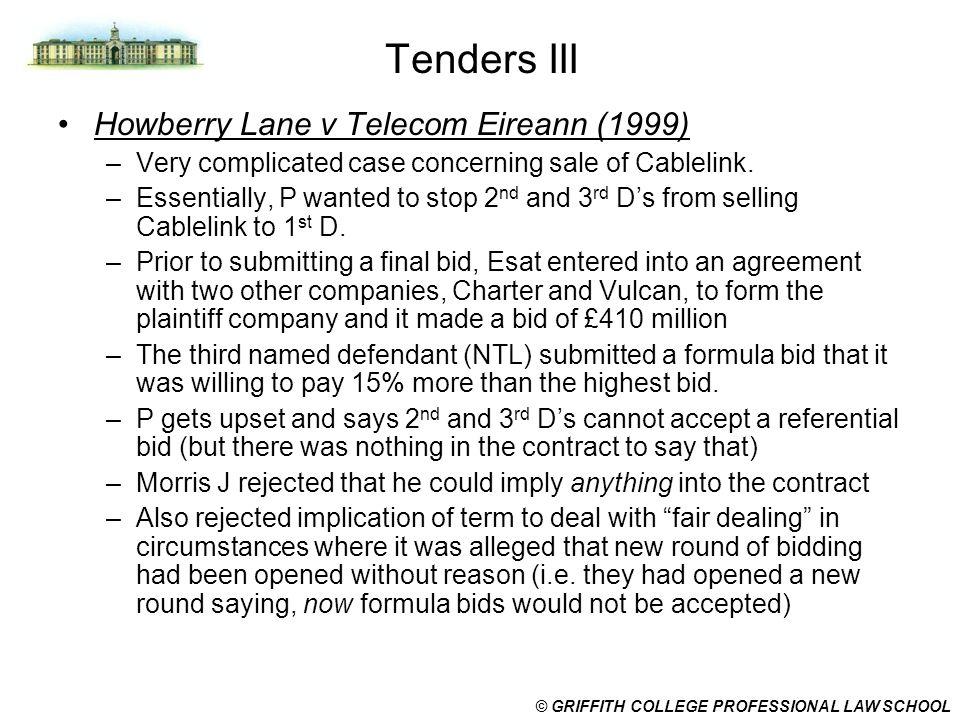 Tenders III Howberry Lane v Telecom Eireann (1999)