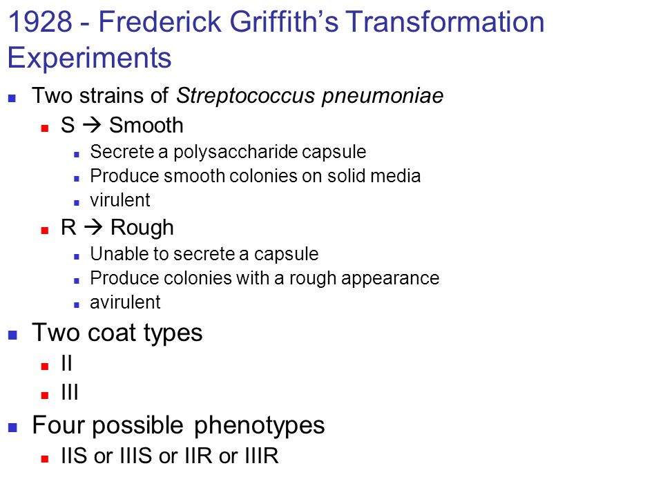 1928 - Frederick Griffith's Transformation Experiments