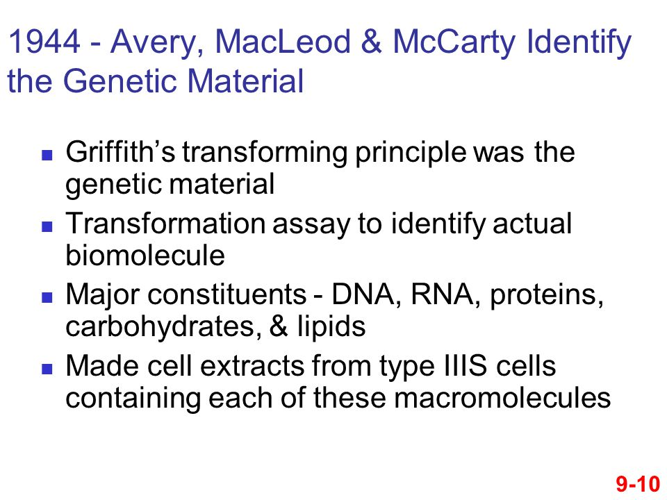 1944 - Avery, MacLeod & McCarty Identify the Genetic Material