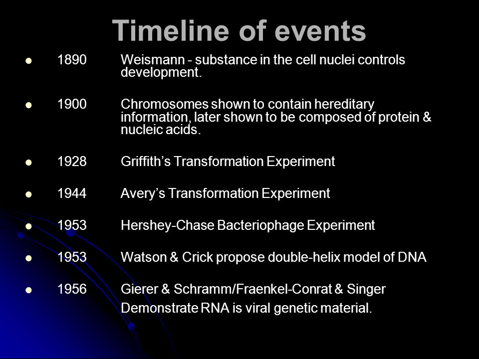 Timeline of events 1890 Weismann - substance in the cell nuclei controls development.
