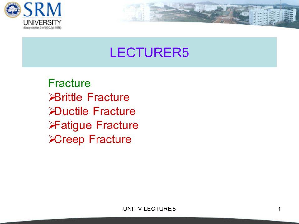 LECTURER5 Fracture Brittle Fracture Ductile Fracture Fatigue Fracture
