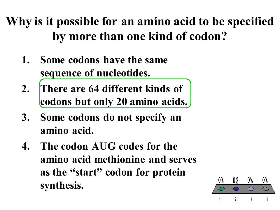 Why is it possible for an amino acid to be specified by more than one kind of codon