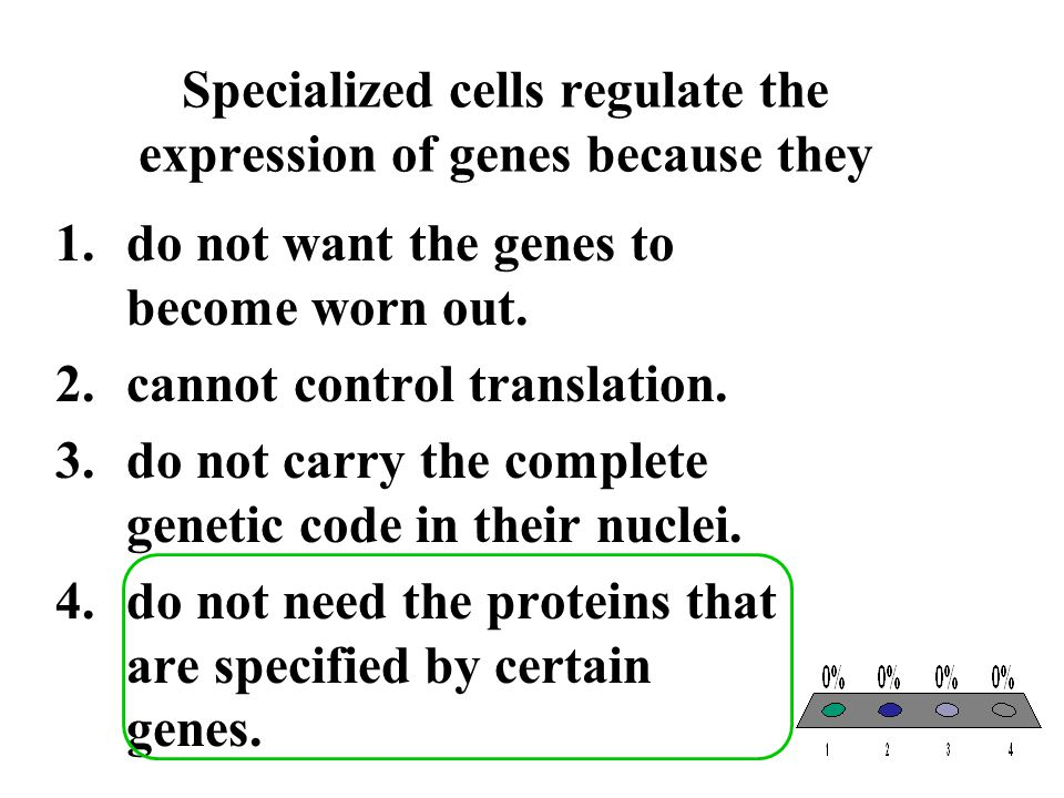 Specialized cells regulate the expression of genes because they