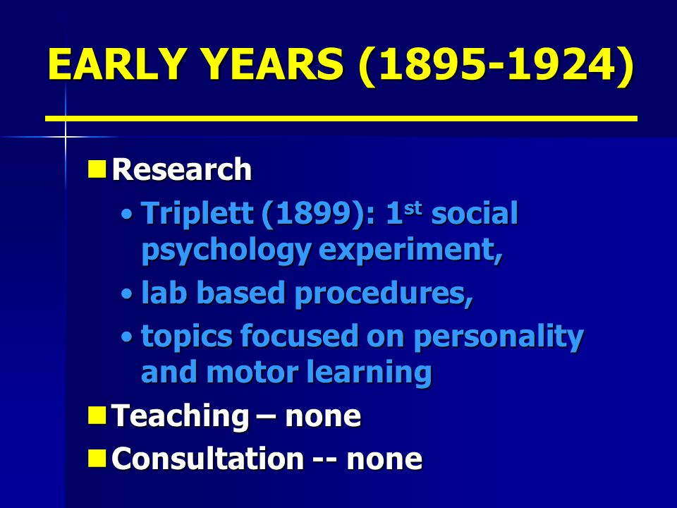 EARLY YEARS (1895-1924) Research