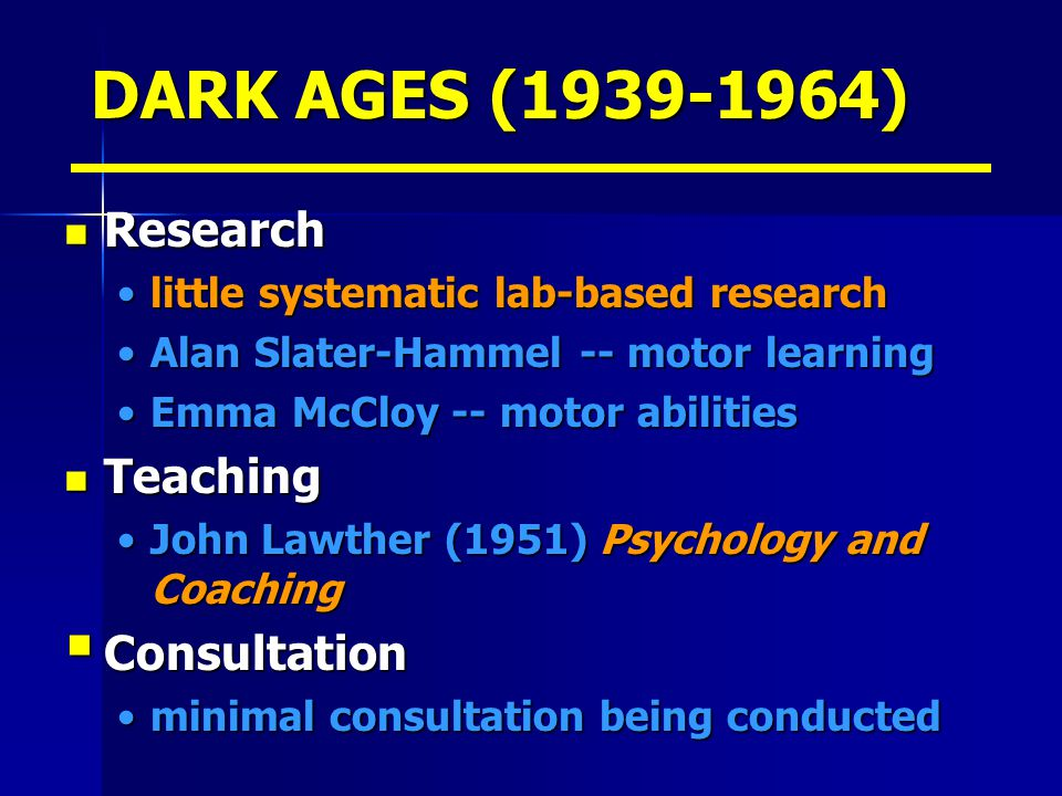 DARK AGES (1939-1964) Research Teaching Consultation