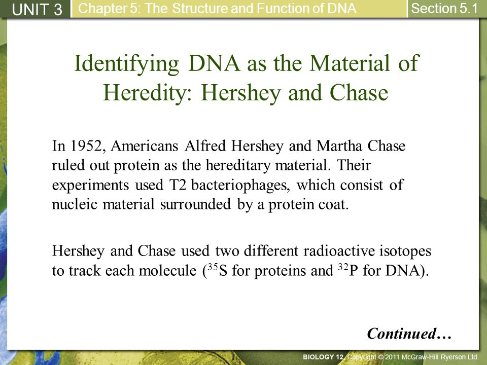 Identifying DNA as the Material of Heredity: Hershey and Chase