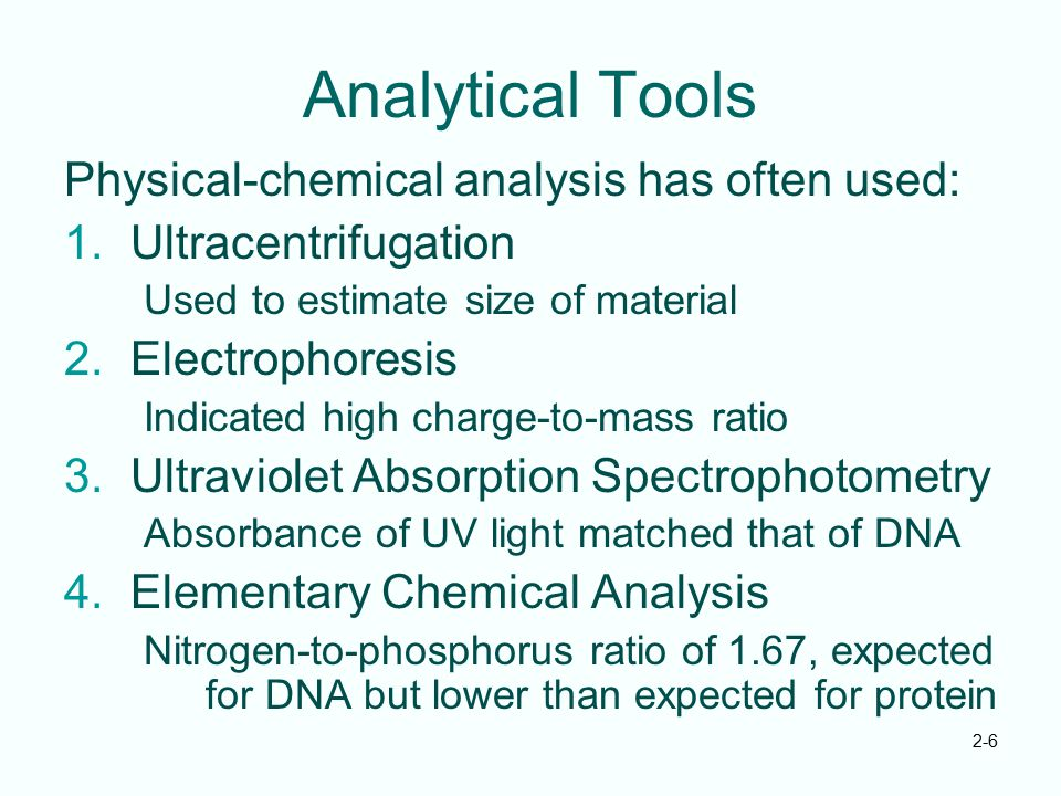 Analytical Tools Physical-chemical analysis has often used: