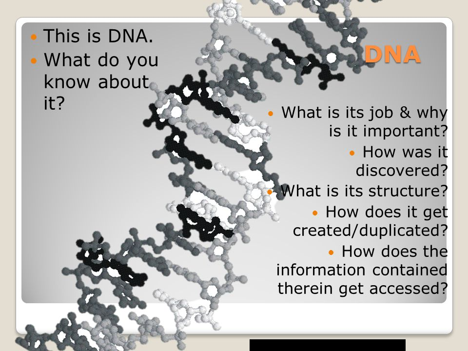DNA This is DNA. What do you know about it