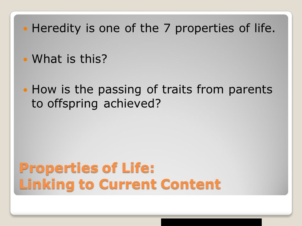 Properties of Life: Linking to Current Content