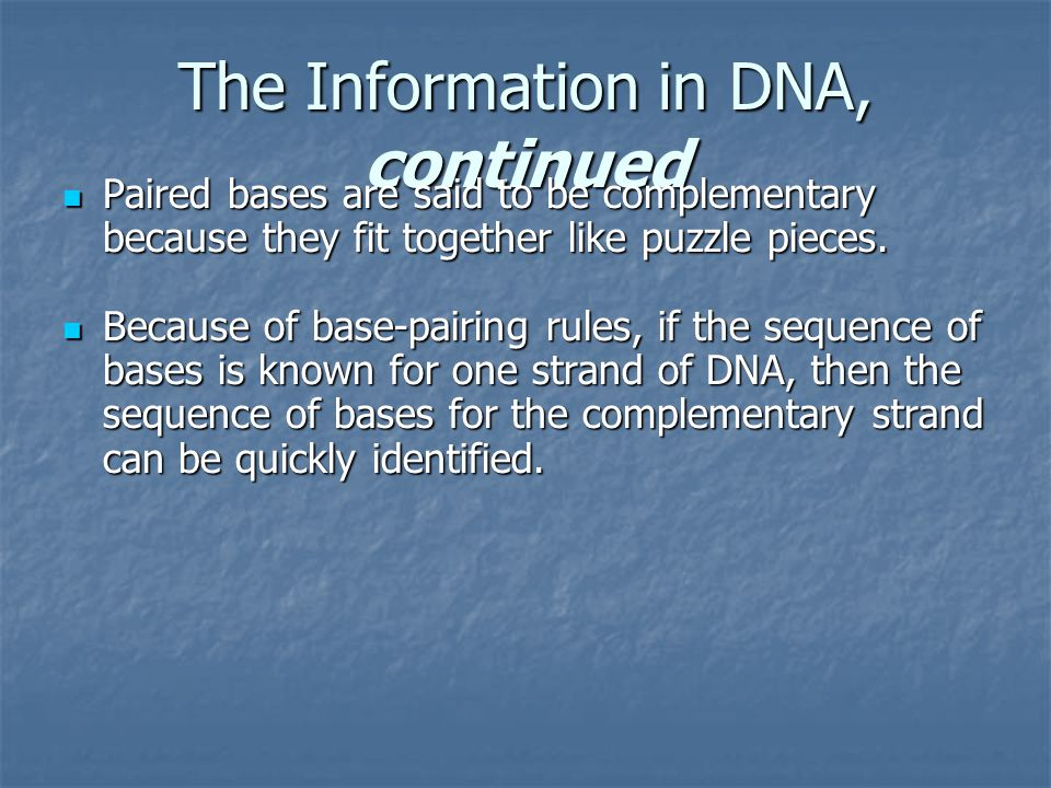 The Information in DNA, continued